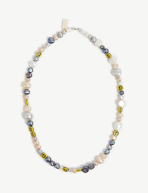 WALD BERLIN: Smiley Dude pearl and glass necklace
