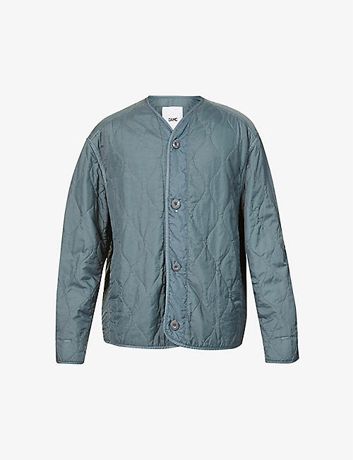 OAMC: Brand-patch V-neck shell jacket