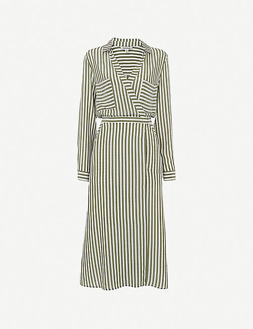 WHISTLES: Stripe woven wrap midi shirt dress