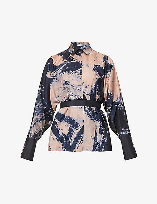 AZZEDINE ALAIA: Graphic-print silk shirt