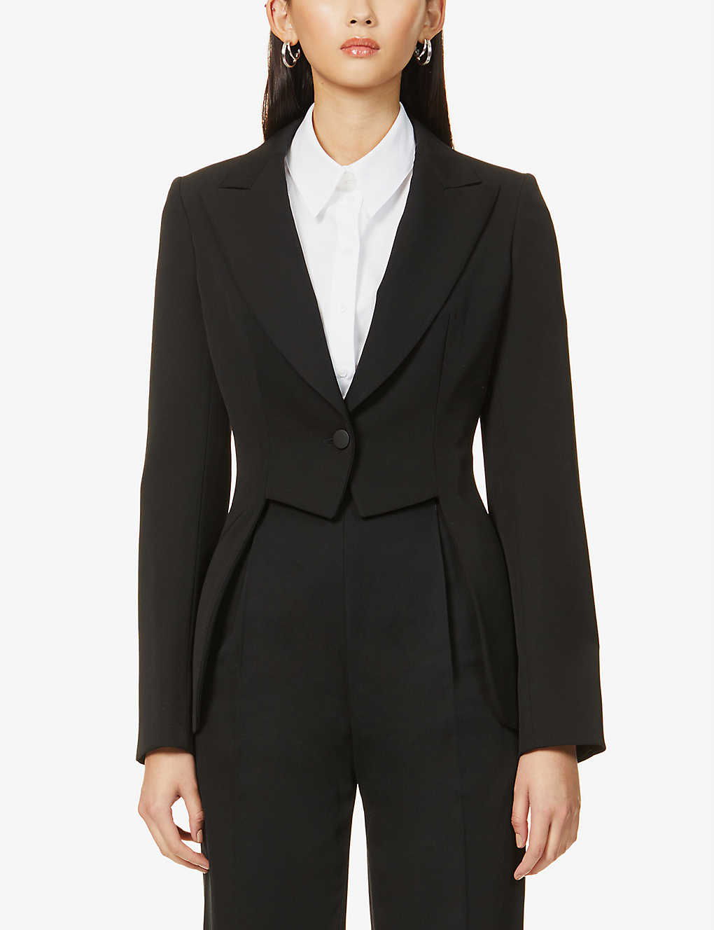 AZZEDINE ALAIA: Cut-out single-breasted wool blazer