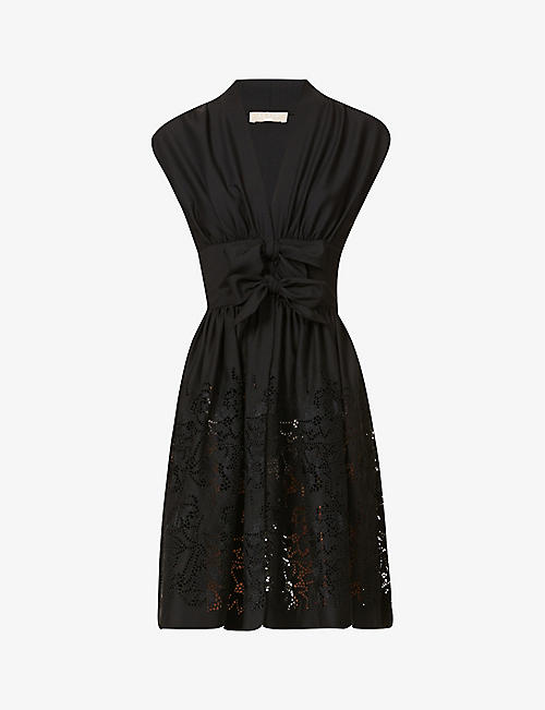AZZEDINE ALAIA: Broderie-pattern wool-blend mini dress