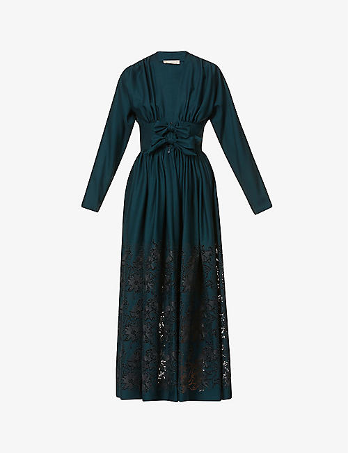 AZZEDINE ALAIA: Broderie-pattern wool-blend maxi dress