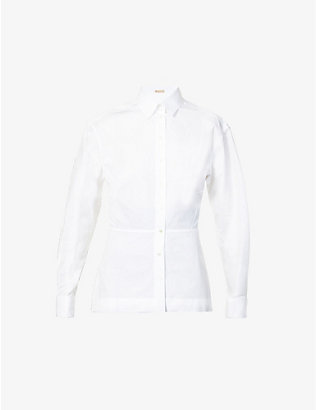 AZZEDINE ALAIA: Flared-panel cotton-poplin shirt
