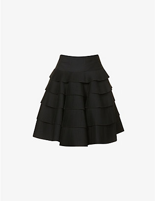 AZZEDINE ALAIA: Pleated tiered woven mini skirt