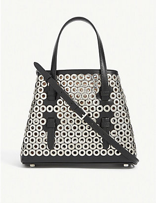 AZZEDINE ALAIA: Eyelet-embellished leather top handle bag