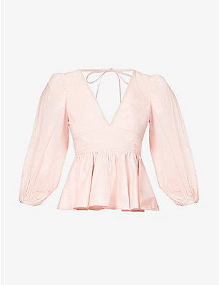 STAUD: Luna peplum cotton-poplin top