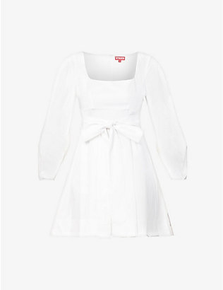 STAUD: Isabella tie-belt cotton-poplin mini dress