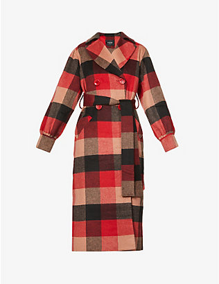 PAPER LONDON: Checked puff-sleeve wool-blend coat