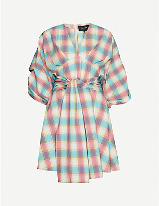 PAPER LONDON: Kaia check-print cotton mini dress