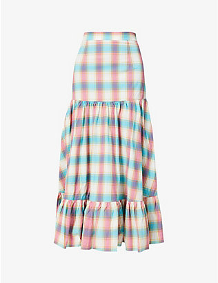 PAPER LONDON: Maria checked high-waist stretch-cotton midi skirt