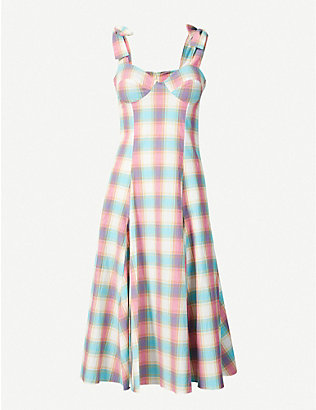 PAPER LONDON: Mona checked cotton midi dress