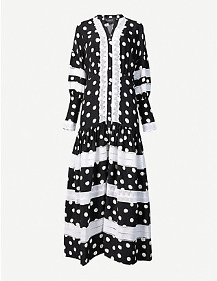 PAPER LONDON: Polka dot woven maxi dress