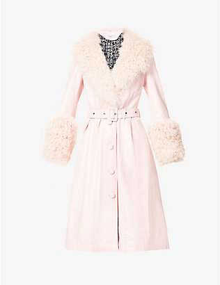 SAKS POTTS: Foxy shearling-trim leather coat