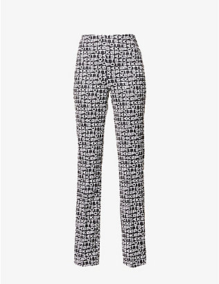 SAKS POTTS: Lissi logo-print wide-leg high-rise stretch-woven trousers