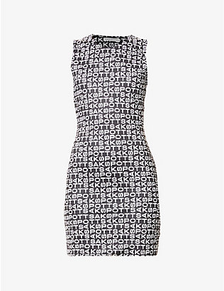 SAKS POTTS: Vision logo-print stretch-woven mini dress