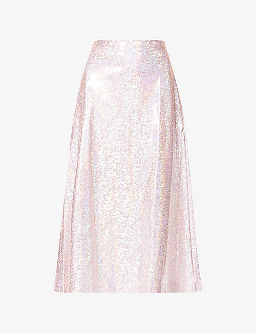 SAKS POTTS: Cobra reflective-pattern high-waist stretch-jersey midi skirt