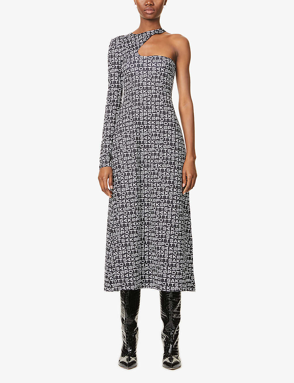 SAKS POTTS: Kitten one-sleeve branded-print stretch-woven midi dress