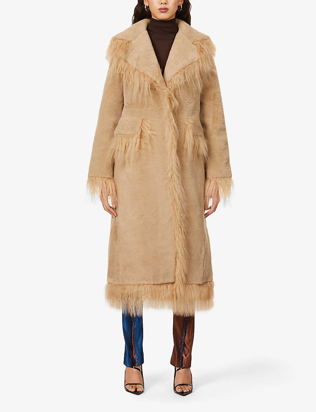 SAKS POTTS: Jimy fringe-trim shearling coat