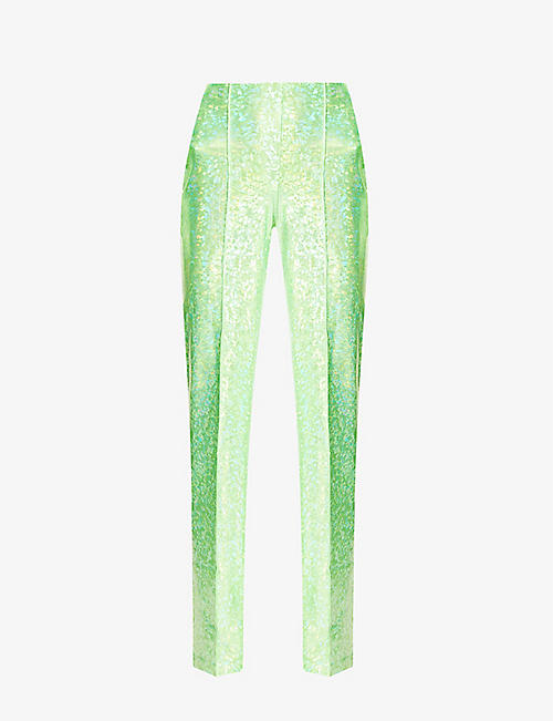 SAKS POTTS: Lissi reflective-print high-rise stretch-jersey trousers