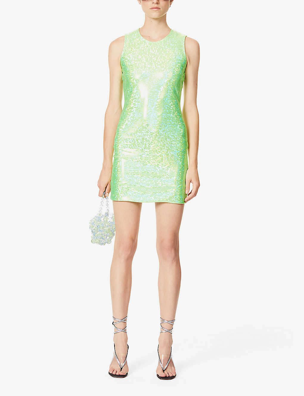 SAKS POTTS: Vision reflective-print stretch-jersey mini dress
