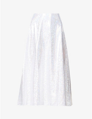 SAKS POTTS: Cobra reflective-print stretch-jersey midi skirt