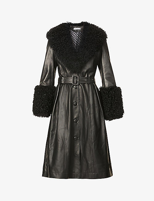 SAKS POTTS: Foxy V-neck shearling-trimmed leather coat