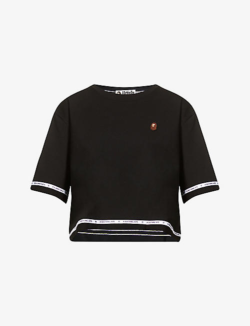 BAPE: Logo tape cropped cotton-jersey T-shirt