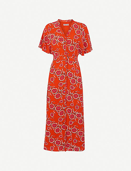 WHISTLES: Ella floral-print crepe midi dress