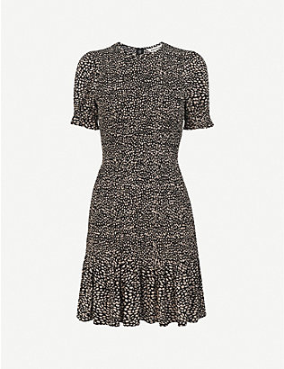 WHISTLES: Yasmin spot-print shirred crepe mini dress