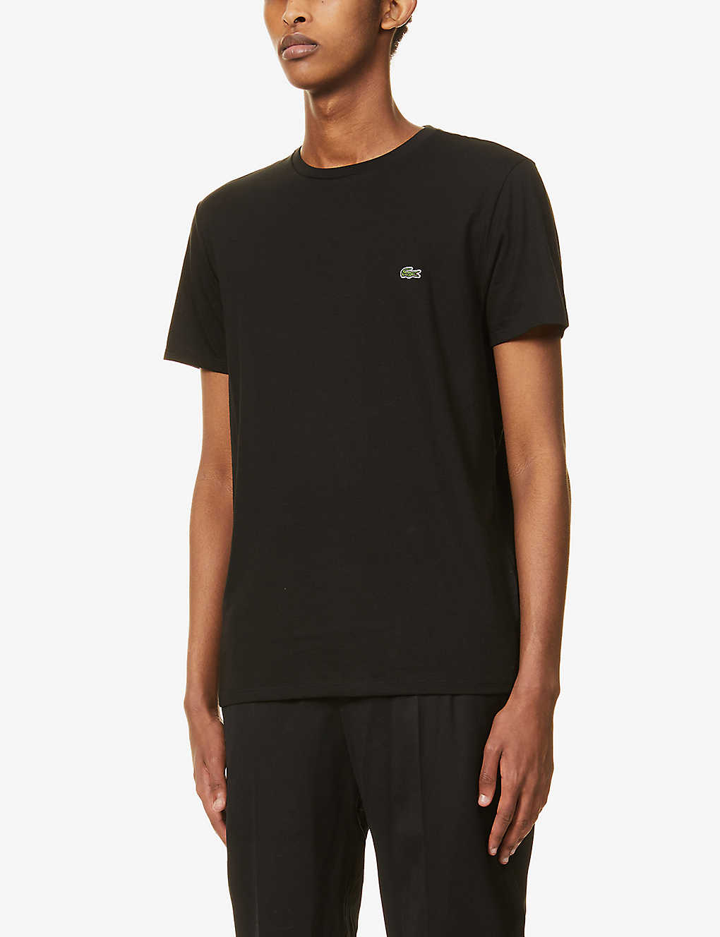LACOSTE: Logo-embroidered cotton-jersey T-shirt
