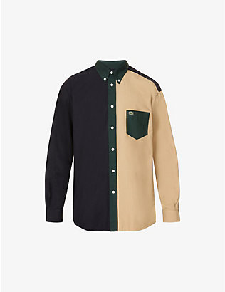 LACOSTE: Colour block relaxed-fit cotton shirt