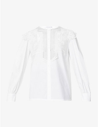 ALBERTA FERRETTI: Embroidered-lace stretch-cotton blouse