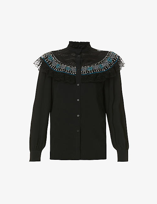 ALBERTA FERRETTI: Bead-embellished crepe and lace shirt