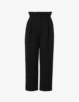 ALBERTA FERRETTI: Paperbag wide-leg high-rise cotton-blend trousers