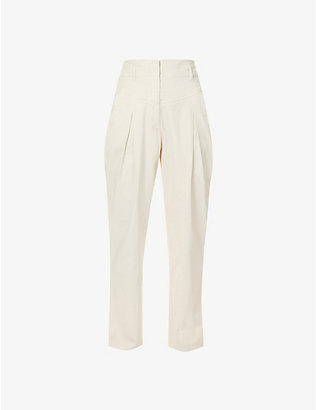 ALBERTA FERRETTI: Tapered high-rise stretch-denim trousers