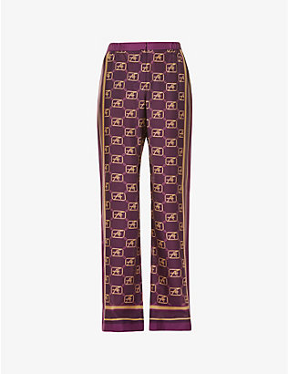ALBERTA FERRETTI: Fantasy logo-print wide-leg high-rise silk trousers