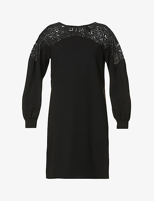ALBERTA FERRETTI: Floral-embroidered stretch-jersey mini dress