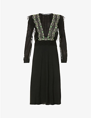 ALBERTA FERRETTI: Bead-embellished crepe and lace midi dress
