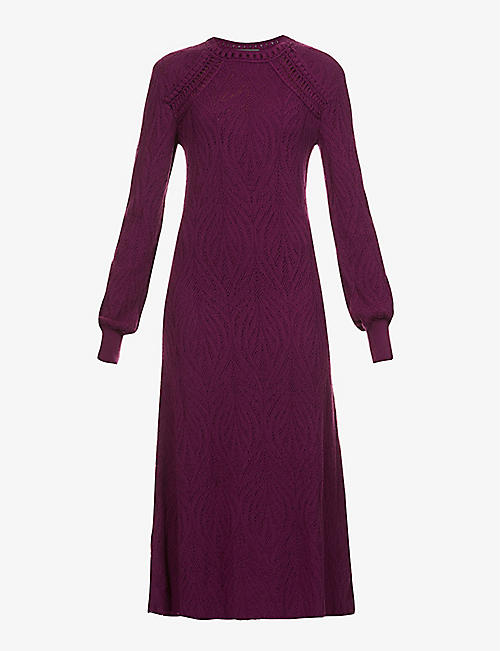 ALBERTA FERRETTI: Abstract-pattern wool midi dress