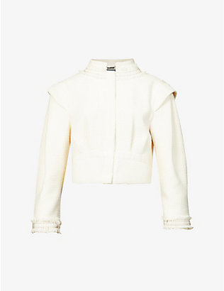 ALBERTA FERRETTI: Fringe cropped cotton-blend jacket
