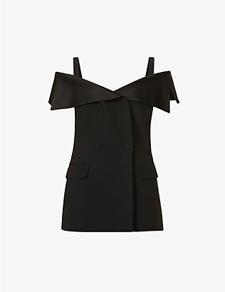 ALBERTA FERRETTI: V-neck off-the-shoulder woven top