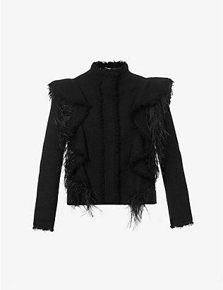 ALBERTA FERRETTI: Feather-trim cotton-blend jacket