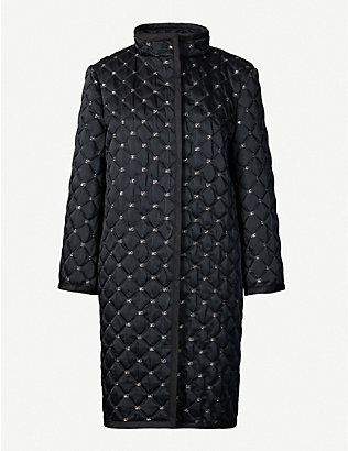 ALBERTA FERRETTI: Branded high-neck woven jacket