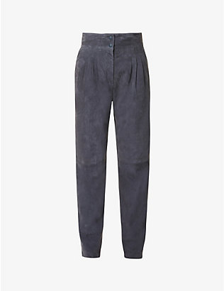 ALBERTA FERRETTI: High-rise tapered suede trousers