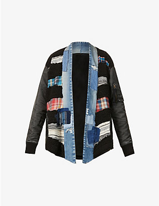 GREG LAUREN: Patchwork V-neck woven jacket