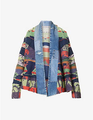GREG LAUREN: Patchwork abstract-print cotton-blend jacket