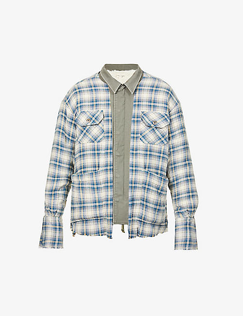 GREG LAUREN: Check-print cotton jacket