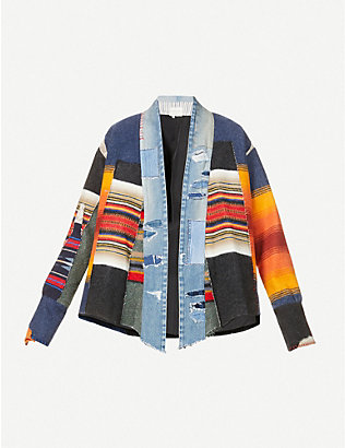 GREG LAUREN: Patchwork wool and cotton-blend jacket