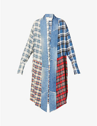 GREG LAUREN: Patchwork long cotton jacket